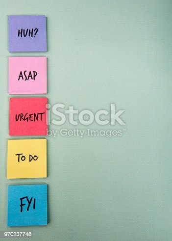 Background image of sticky notes with tasks, taken with copy space