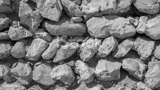 Background image of traditional arab stone wall with multiple stones.