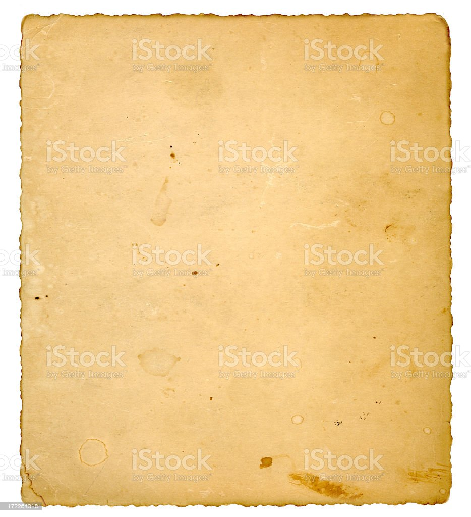 Background image of vintage paper with rips and stains royalty-free stock photo