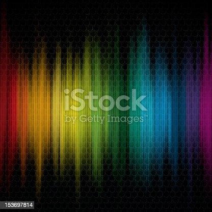 Colors of rainbow on the black metal grid