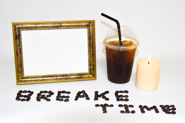 background image with coffee and frame stock photo