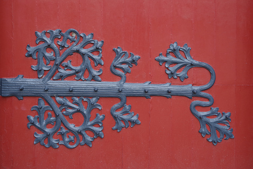 Background in red wood and iron