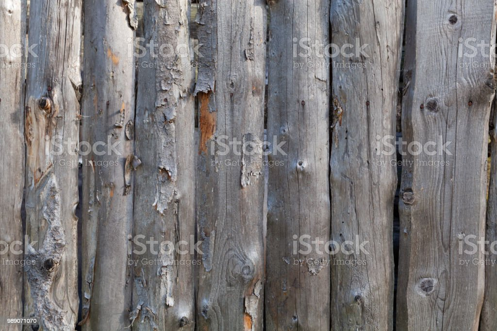 Background in style a rustic from old unpainted vertical boards with knots стоковое фото