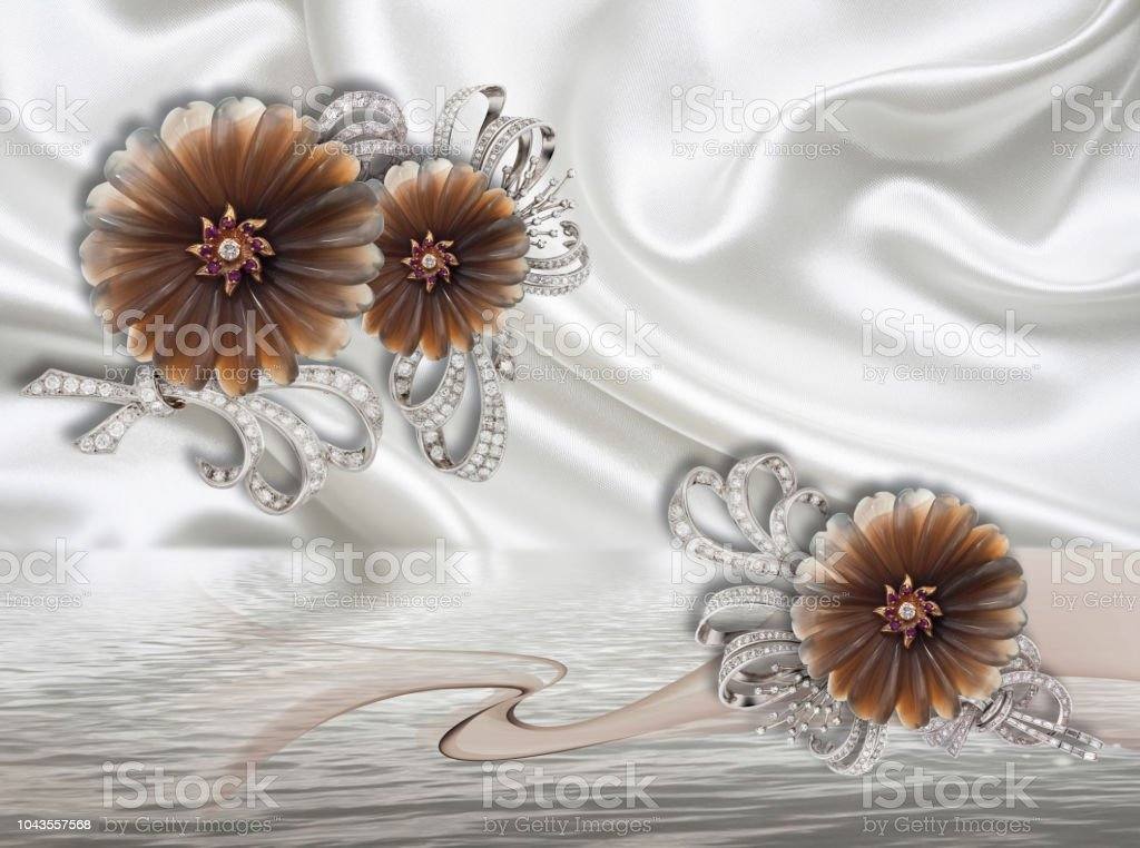 3d Background Jewelry Flowers On White Silk Wallpaper Stock