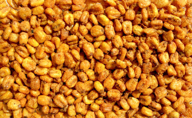 Background made of roasted salted spicy corn stock photo