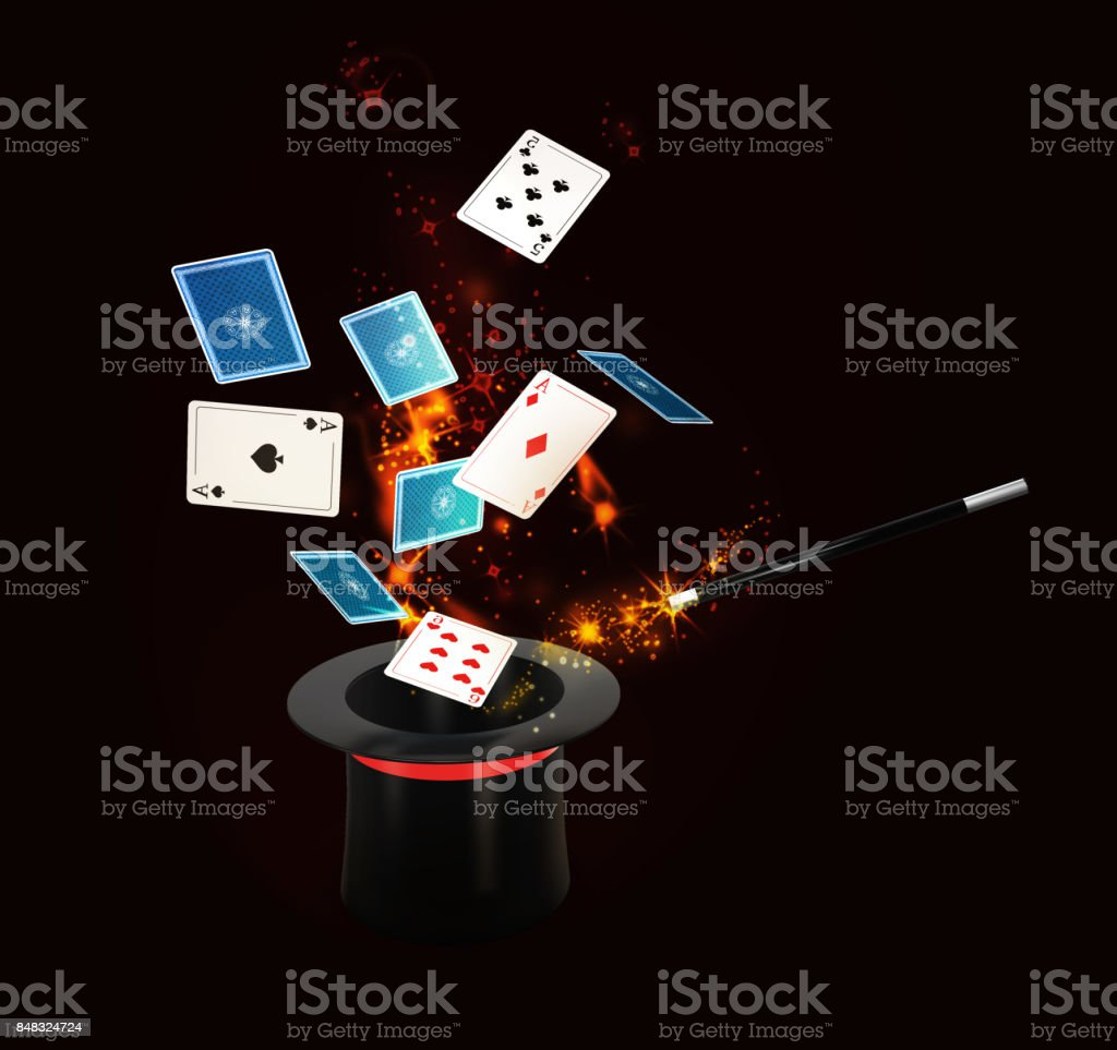 Background Magic Hat With Shine and flying play cards. isolated black, 3d Illustration stock photo