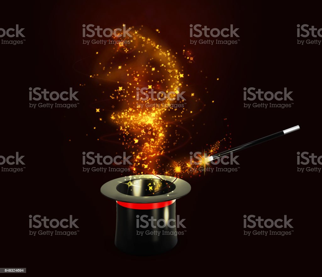 Background Magic Hat With Shine. isolated black, 3d Illustration stock photo