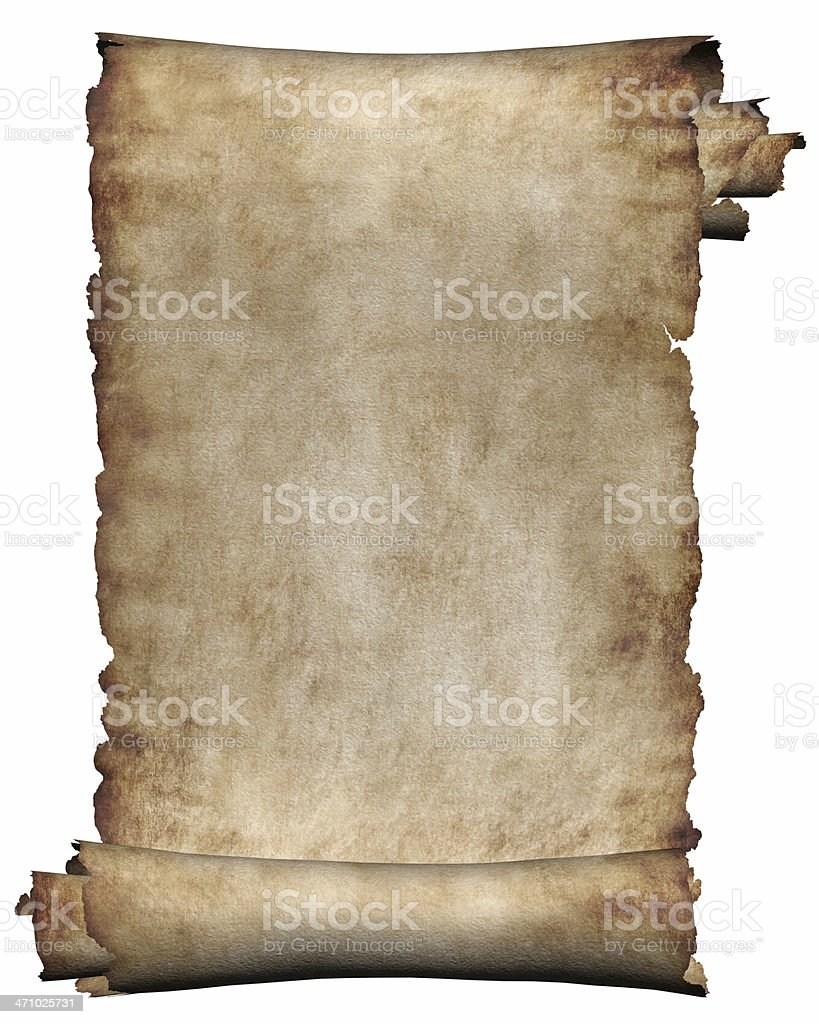 Background manuscript rough roll of parchment paper white royalty-free stock photo