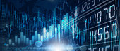istock Background media blue image with stock market investment trading, candle stick graph chart, trend of graph, Bullish point, soft and blur, illustration. 1222507894