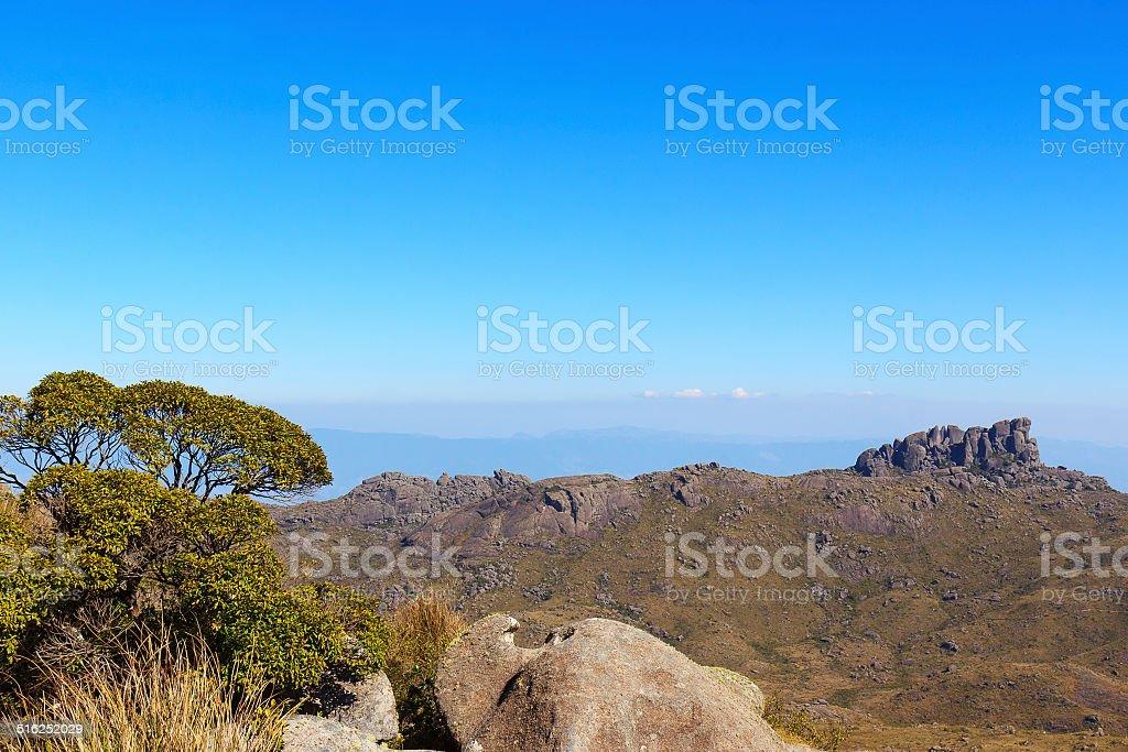 Background mountain landscape peak Prateleiras, Itatiaia, Brazil stock photo
