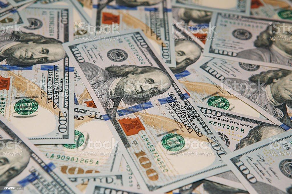 Background of 100 dollar bills stock photo