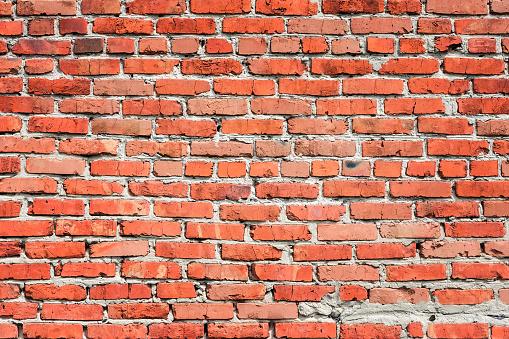Background Of A Red Brick Wall - zdjęcia stockowe i więcej obrazów Architektura