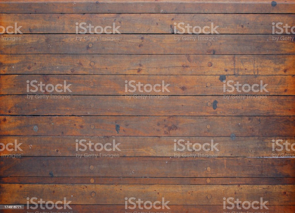 Background of a ship's knotted wooden deck flooring stock photo