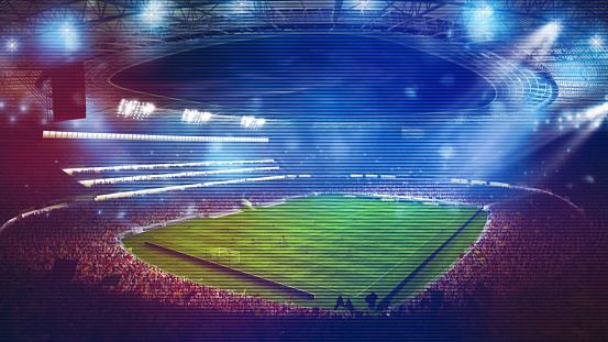 Image from above of a football stadium crowded with people. 3D rendering