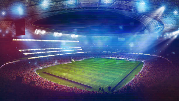 Background of a soccer stadium with light effects full of fans during a night game. 3D rendering stock photo