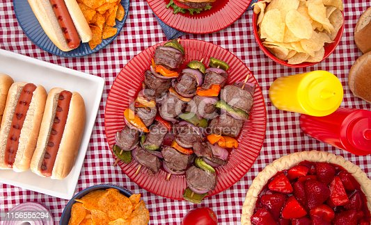 istock Background of a Table Set for an American BBQ with Red White and Blue 1156555294