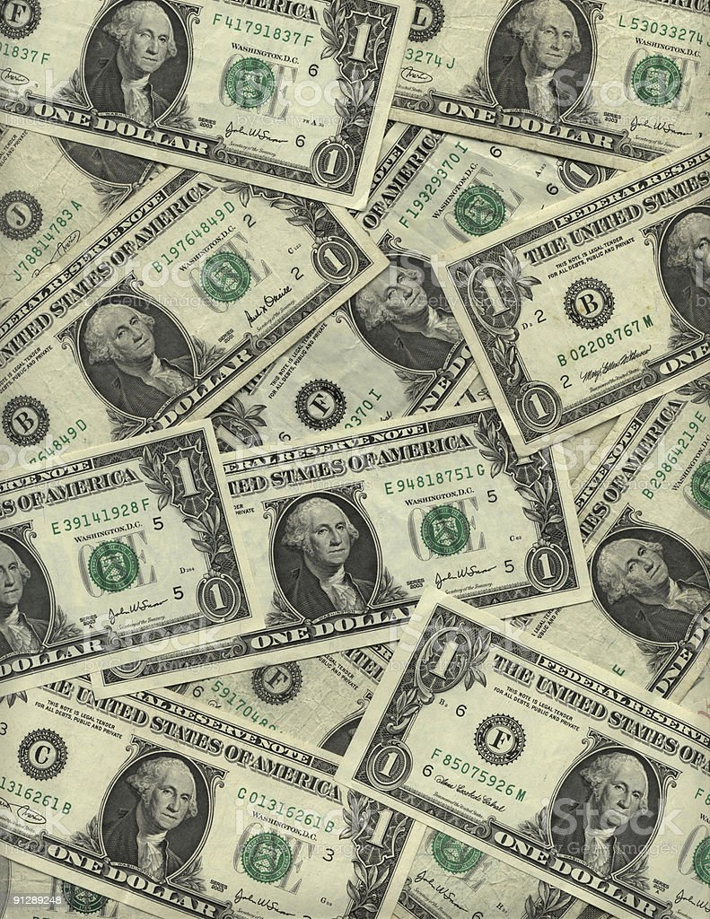 Background of American one dollar bills stock photo