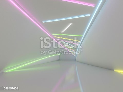 962326404 istock photo Background of an empty room with walls and neon light. Neon rays and glow. 3D 1046457604