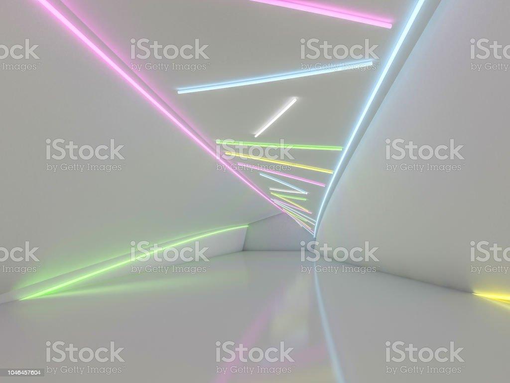 Plano de fundo de uma sala vazia com paredes e luz de néon. Raios de neon e brilho. 3D - foto de acervo