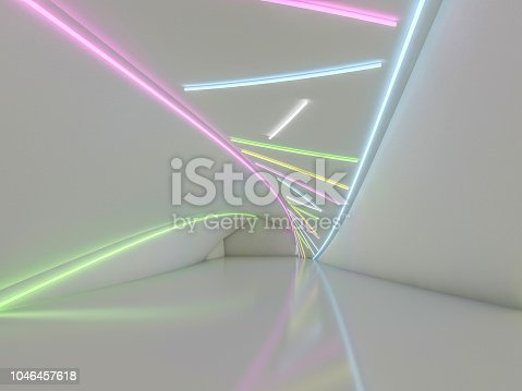 962326404 istock photo Background of an empty room with walls and neon light. Neon rays and glow. 3D 1046457618