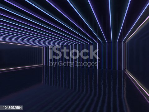 istock Background of an empty room with walls and neon light. Neon rays and glow. 3D 1048952584