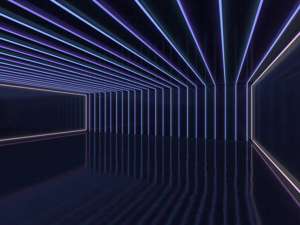 background of an empty room with walls and neon light. neon rays and glow. 3d - stage performance space stock pictures, royalty-free photos & images