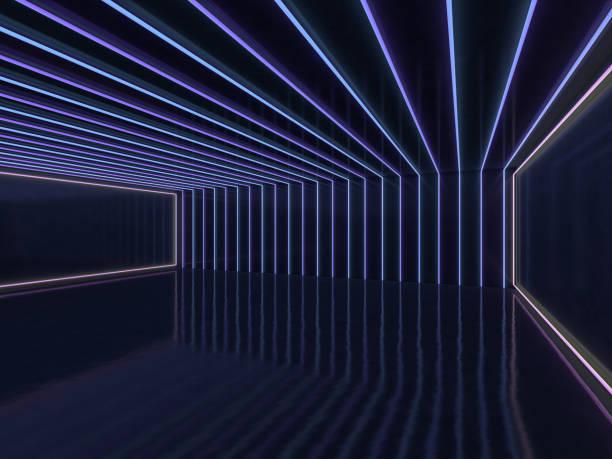 hintergrund von einem leeren raum mit wänden und neonlicht. neon-strahlen und leuchten. 3d - partyraum stock-fotos und bilder