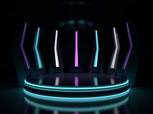 background of an empty space and neon light. neon rays and glow. 3d - construction platform stock pictures, royalty-free photos & images