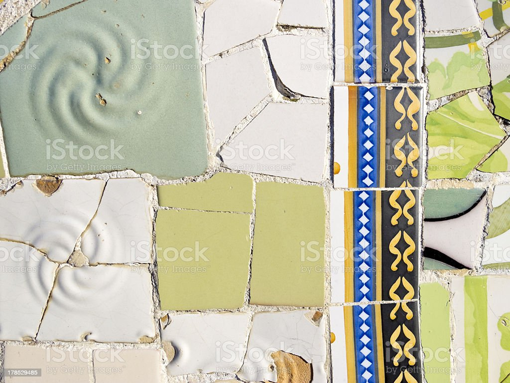 Background of Antonio Gaudi mosaics royalty-free stock photo
