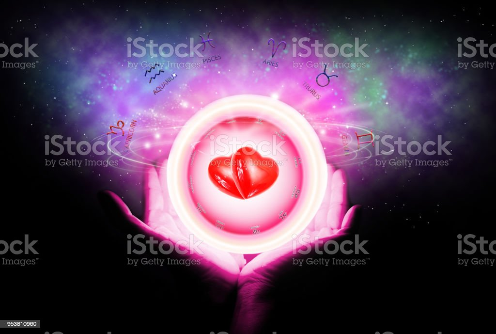 Hintergrund der Astrologie und Liebe Konzept. – Foto
