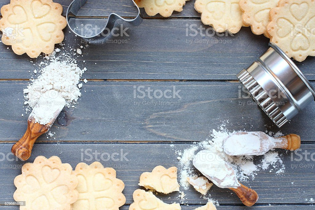 Background of baking gluten free shortbread cookies stock photo