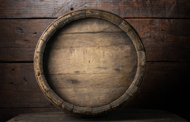 background of barrel and worn old table of wood - barrica imagens e fotografias de stock