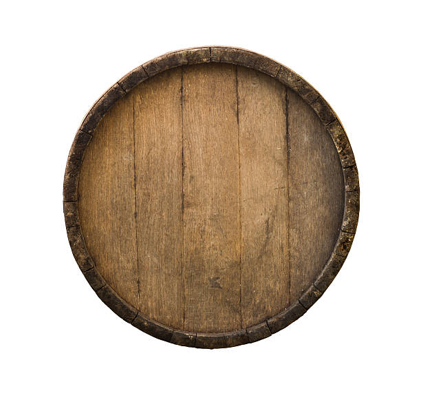 background of barrel and worn old table wood - foto de acervo