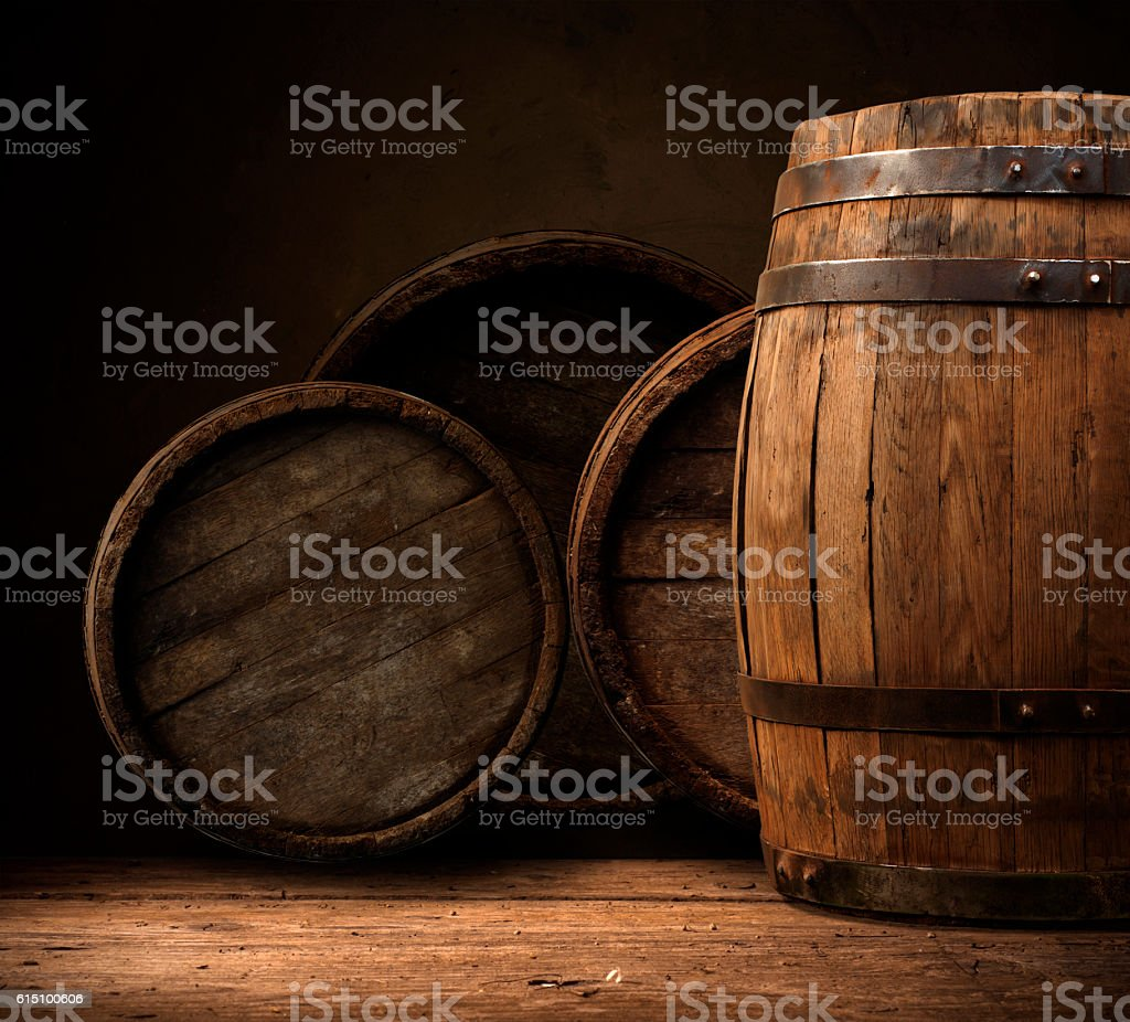 background of barrel and worn old table wood – Foto