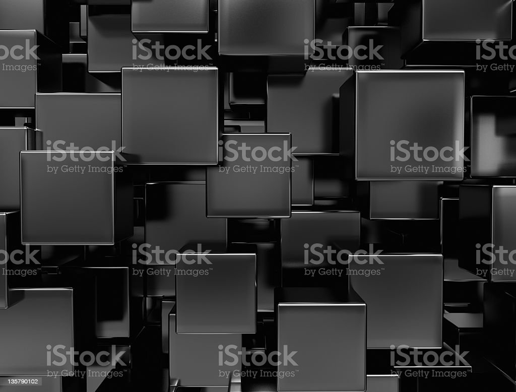Background of black metal cubes stock photo