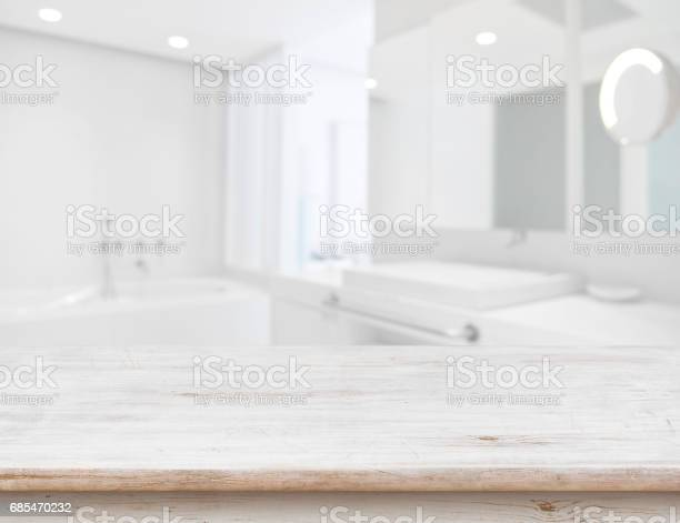 Background of blurred bathroom interior with wooden table in front picture id685470232?b=1&k=6&m=685470232&s=612x612&h=3rhu7y5ju41hjpe vs3tro oc4enegtsjafbe2kymhe=