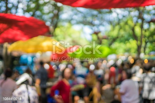 background of blurred market in outdoor Chiangmai