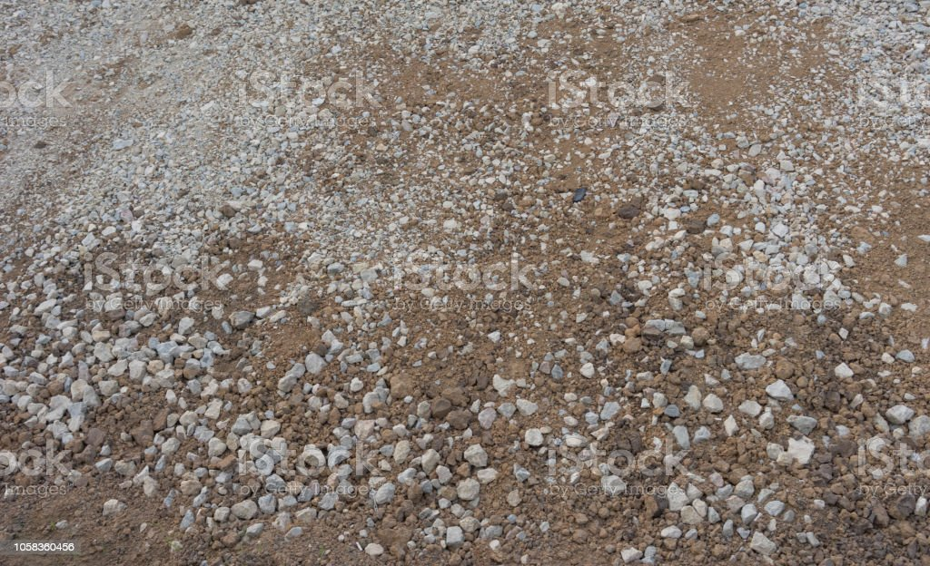 Background Of Brown Gravel Of Various Sizes And Textures