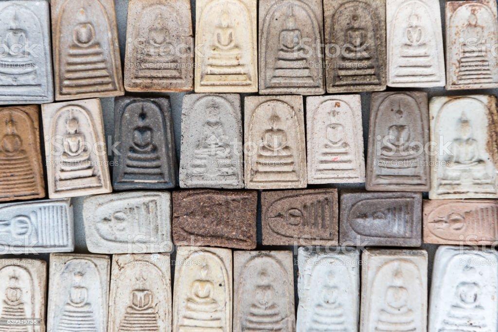 background of Buddha amulet stock photo