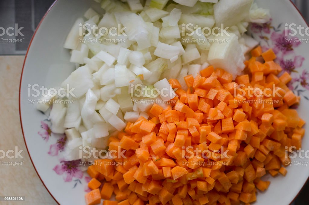 Background of carrot slices on the table stock photo