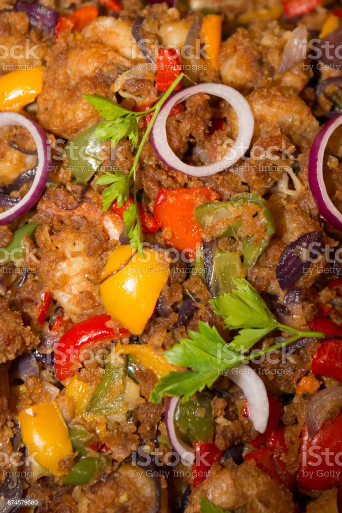 A Background of Chichen Madras vegetables and tandoori stock photo