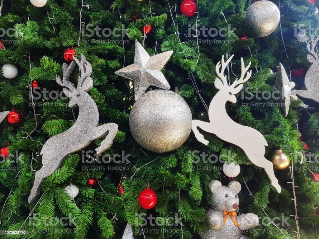Background of Christmas Ornaments on the Tree stock photo