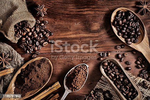 Background of coffee beans and chocolate