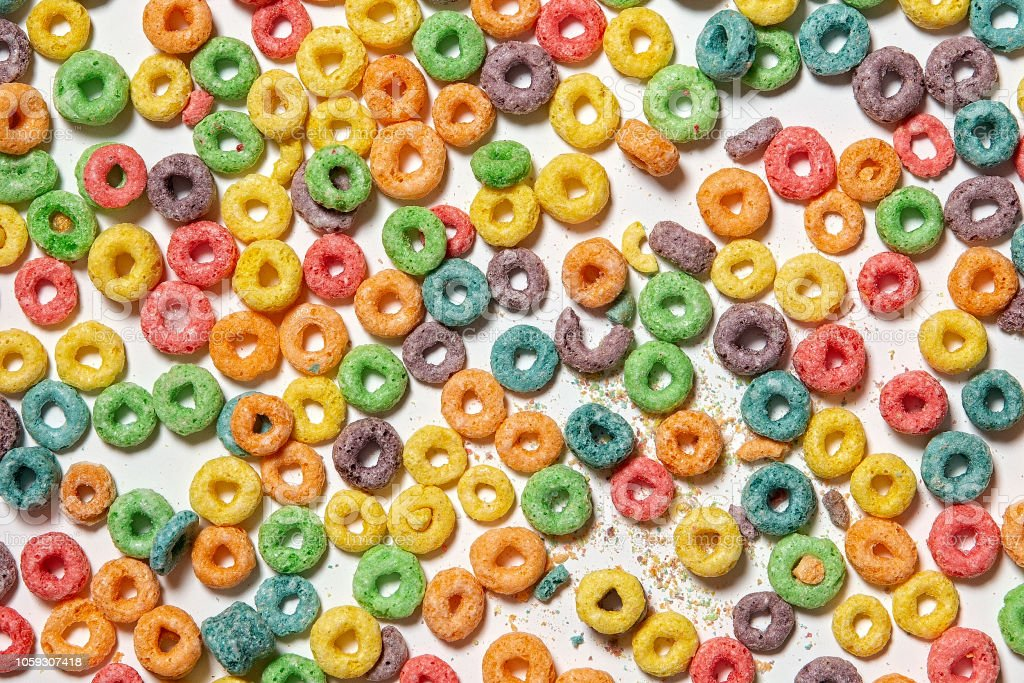 background of colorful cereal rings stock photo