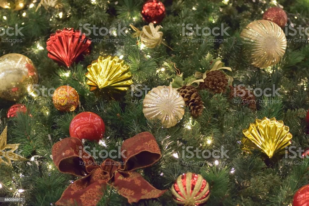 Colorful Christmas Tree Decorations.Background Of Colorful Christmas Tree Decorations Stock