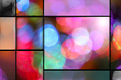 Colorful defocused party lights background with added window frames in various sizes and textures.  Hues include: pink, purple, blue, green.