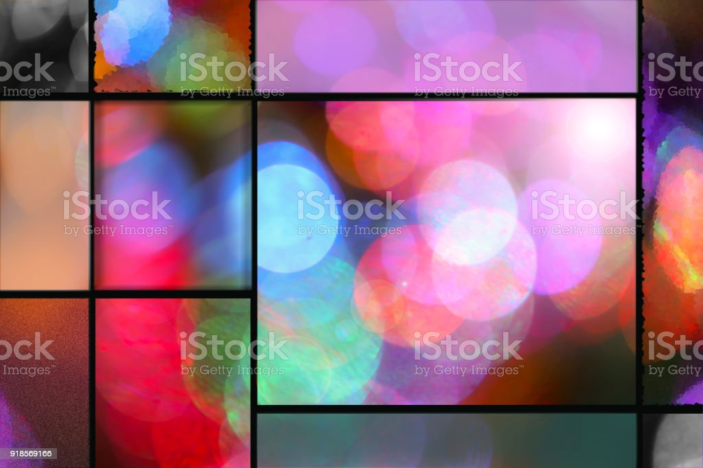 Background of colorful defocused party lights with frames. stock photo