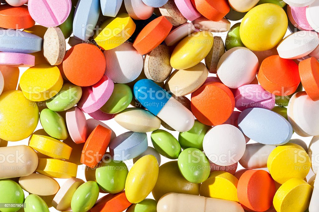 background of colorful medical pills. photo libre de droits