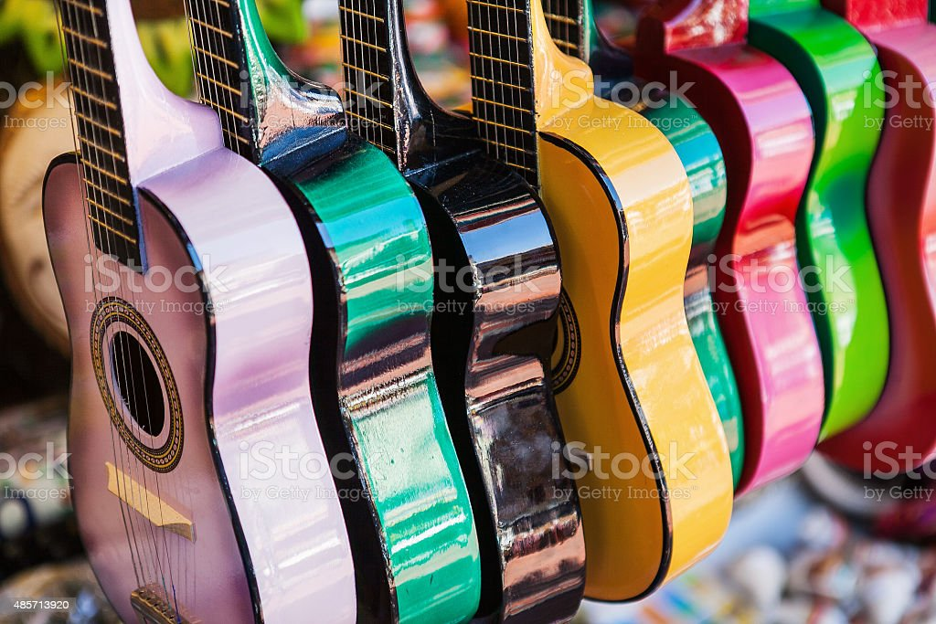 Background of colorful mexican guitars stock photo