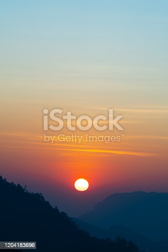 Background of colorful sky concept: Dramatic sunset with twilight color sky and clouds